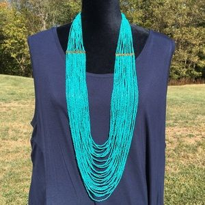 Turquoise colored bead Statement Necklace